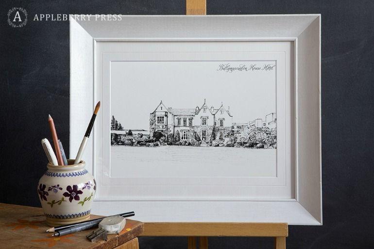 Pen Sketch Illustration Wedding Invitation Ballymascalon House