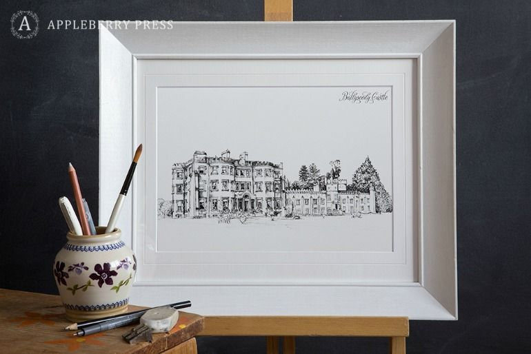 Pen Sketch Illustration Wedding Invitation Ballyseedy Castle