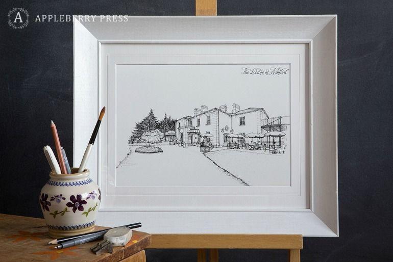Pen Sketch Wedding Invitation Ashford Lodge