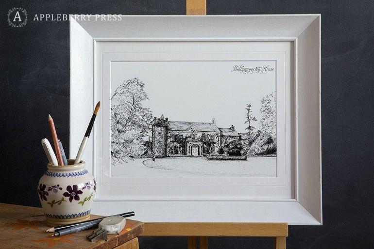 Pen Sketch Wedding Invitation Ballymagarvey House