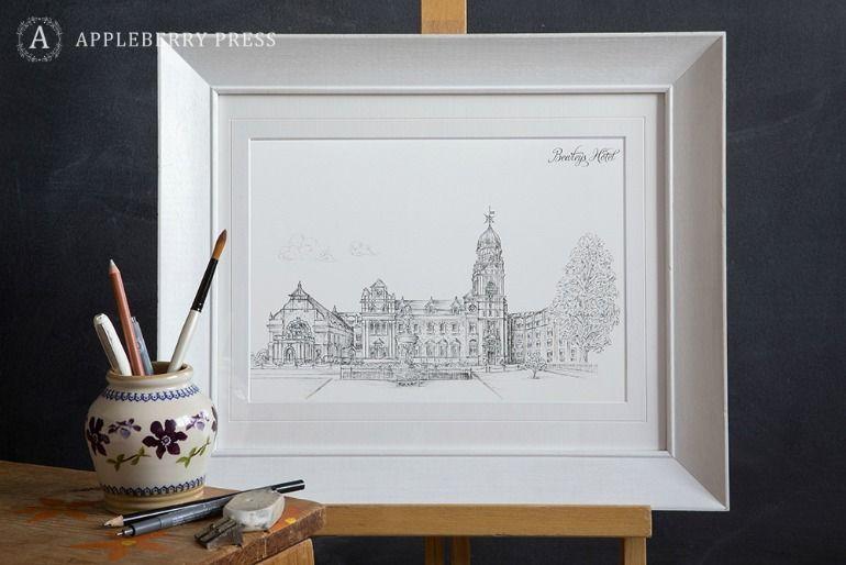 Pen Sketch Wedding Invitation Bewleys Hotel(1)