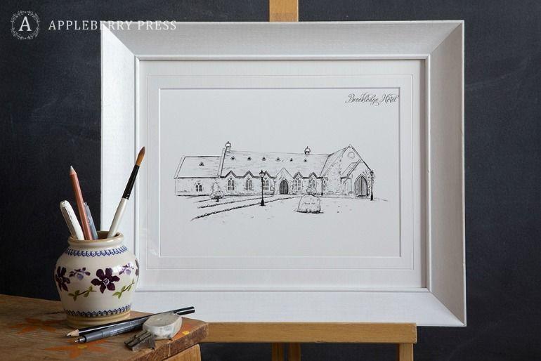 Pen Sketch Wedding Invitation Brooklodge