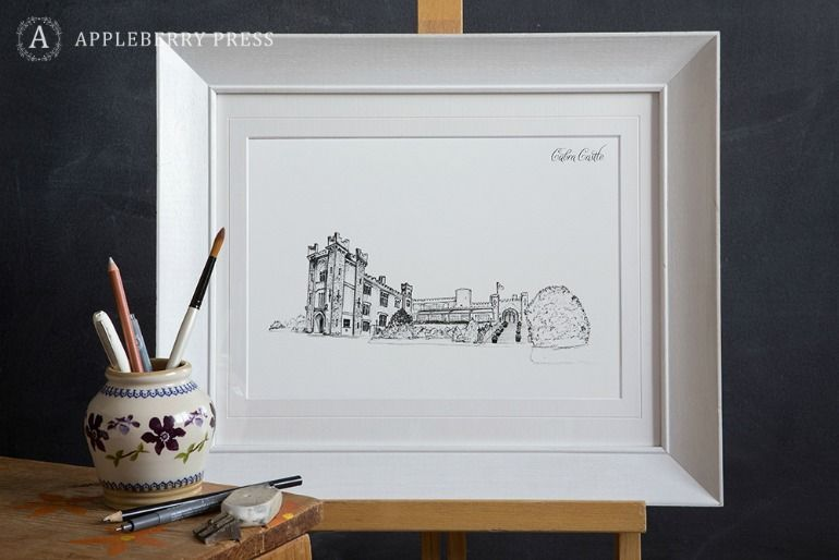Pen Sketch Wedding Invitation Cabra Castle(1)