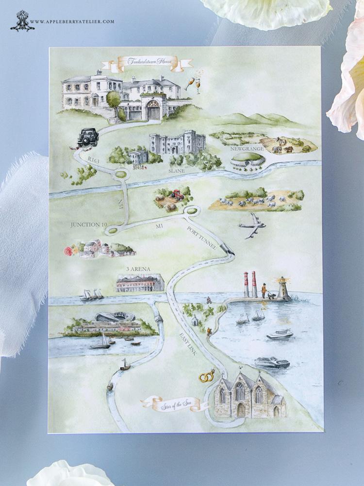Tankardstown House Wedding Map Painted