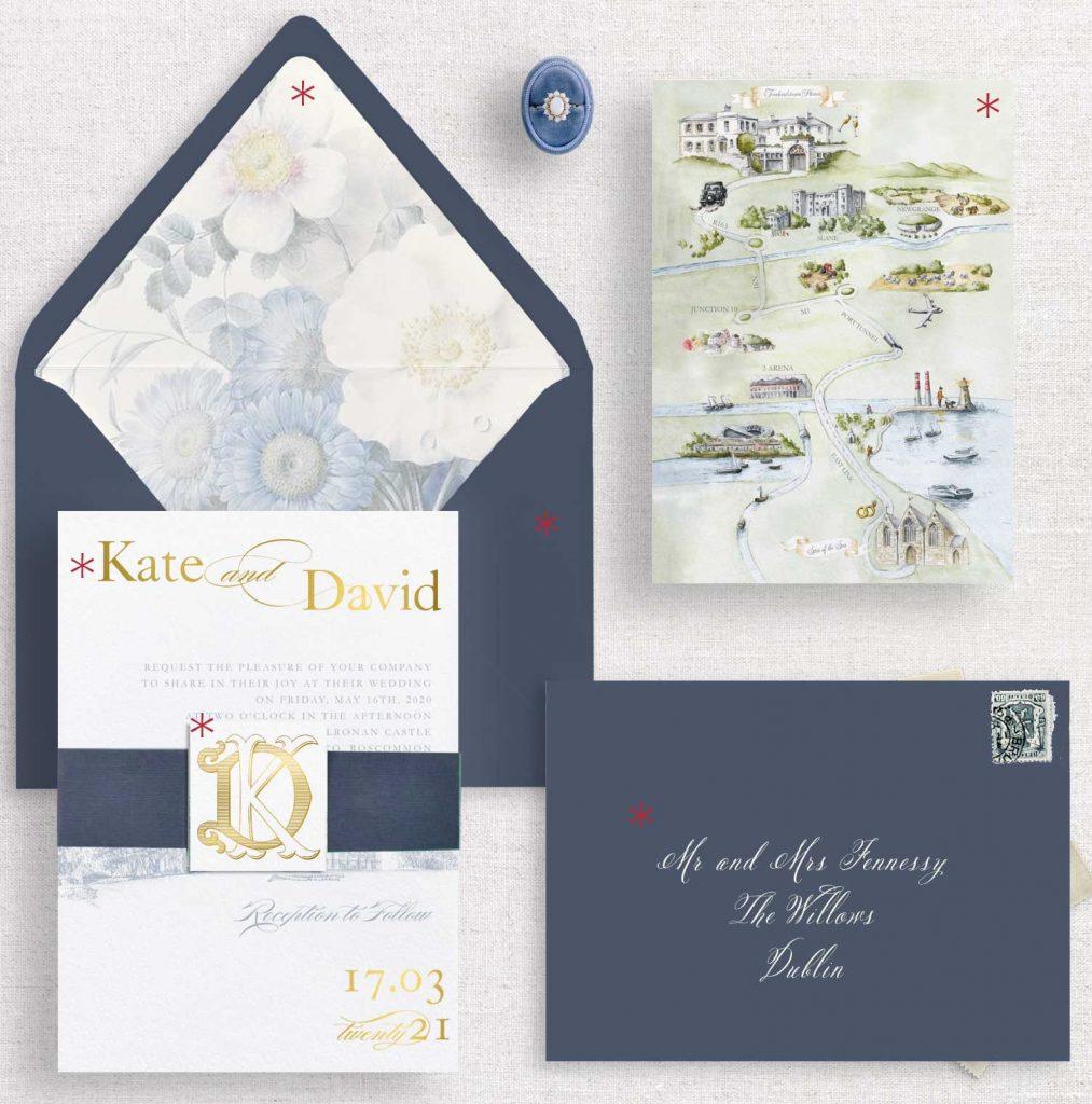 Monogram Venue Invitations Embellished