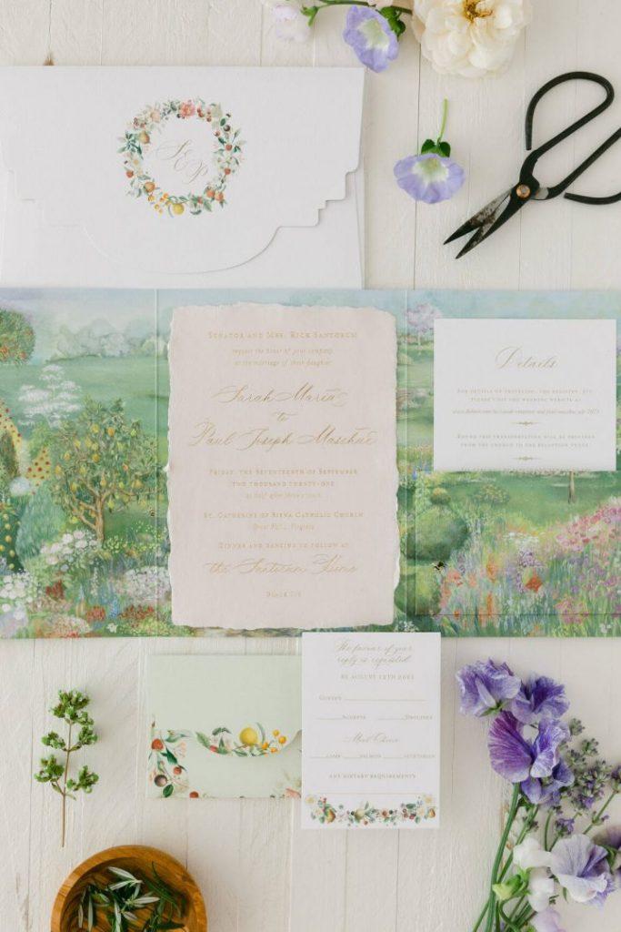 Family home wedding invitation bees
