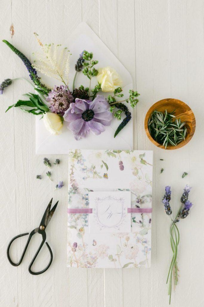 Lavender theme wedding invitations